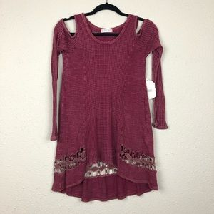 NWT Altar'd State Maroon Cold Shoulder Tunic Small